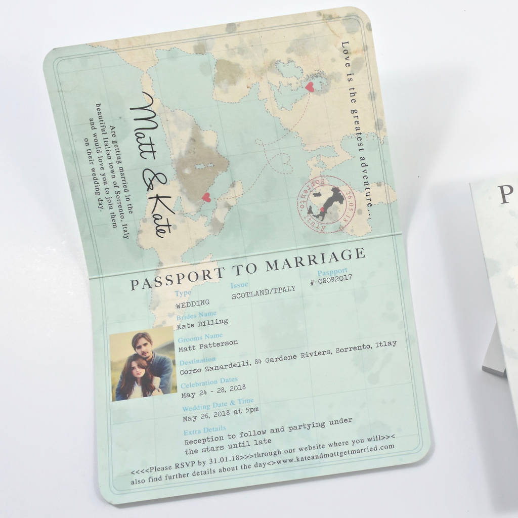 vintage style passport wedding invitation by paper and inc ...