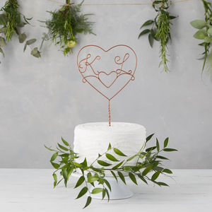 Double Heart Initial Wire Cake Topper - weddings sale