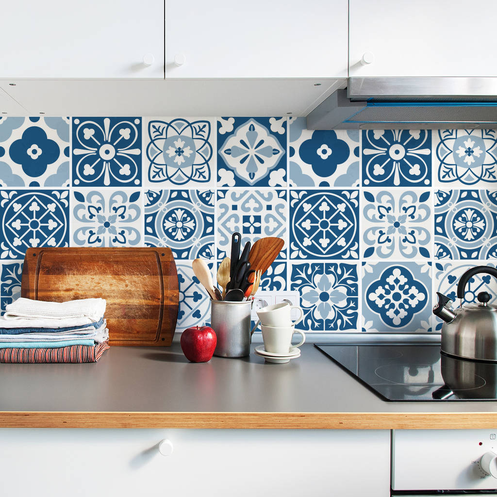 blue moroccan tile stickers set pack of 24 by sirface graphics ...