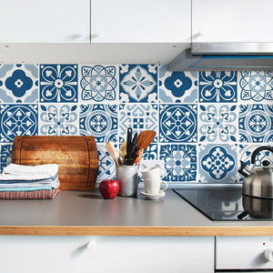 Blue Moroccan Tile Stickers Set Pack Of 24 - decorative accessories