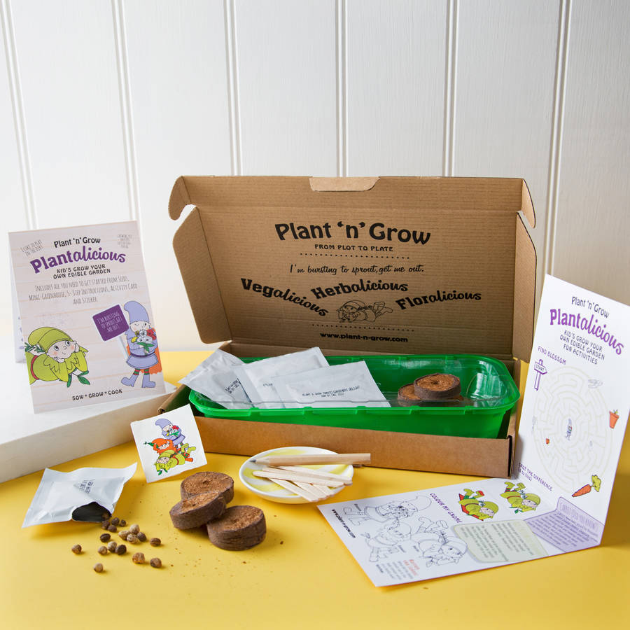 personalised kids grow your own edible garden kit by plant and