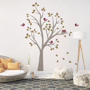 Birds Nests In Tree Wall Sticker - decorative accessories