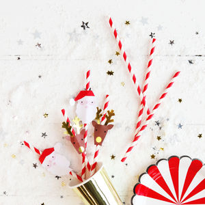 Christmas Santa And Reindeer Striped Party Straws - decoration