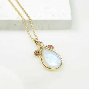 Nikita Necklace Moonstone Pink Tourmaline - necklaces & pendants