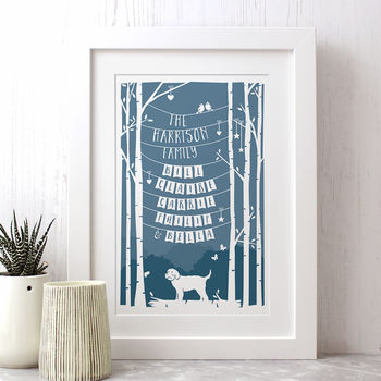 Personalised Family Print With Any Dog Breed