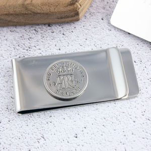 Sixpence 1947 70th Birthday Coin Money Clip - accessories sale