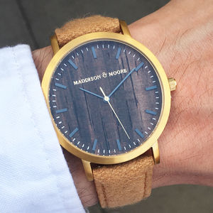 Classic Gold Light Brown Wool Leather Unisex Wood Watch - men's accessories