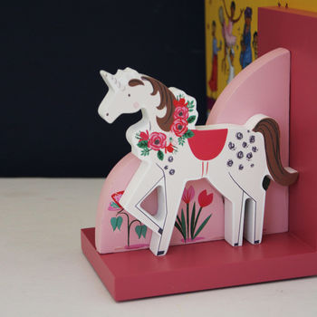 Children's Wooden Unicorn Bookends