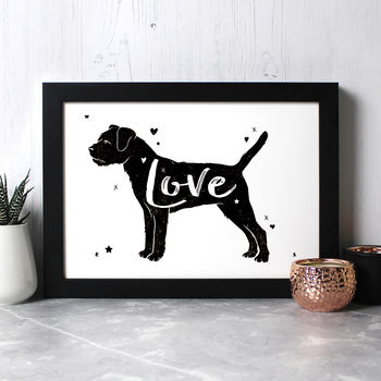 Border Terrier 'Love' Print