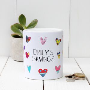 Personalised Hearts Money Box - children's room accessories
