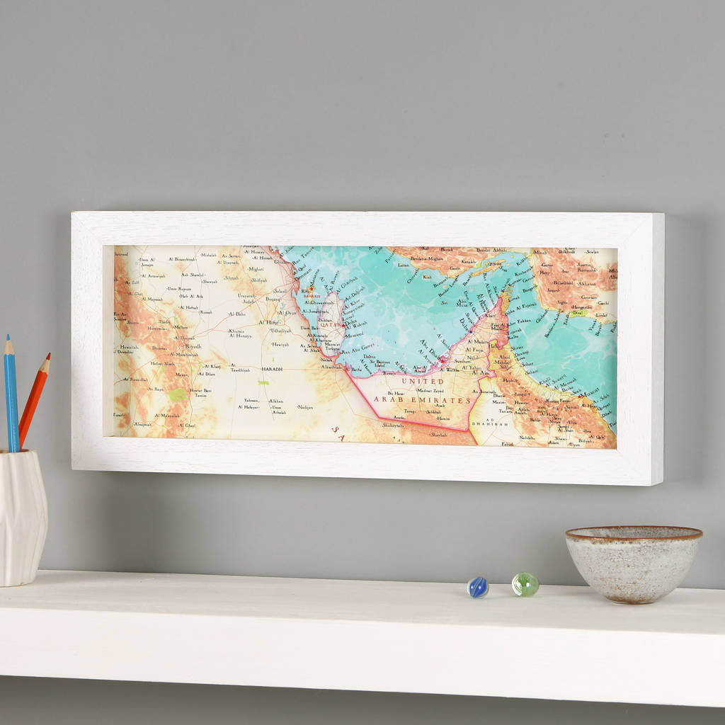 uae, dubai, quatar middle east hand drawn map print by bombus ...