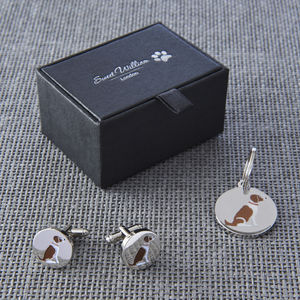 Daddy And Me Springer Spaniel Cufflinks And Dog Tag Set