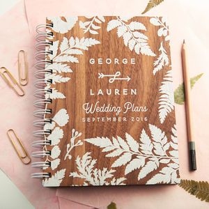 Personalised Walnut Wedding Planner - albums & guest books