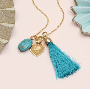 Personalised Gold And Turquoise Boho Tassel Necklce