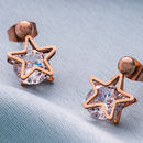 Rose Gold Star Earrings With Crystal