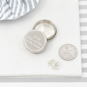 Luck And Love Silver Christening Keepsake Box - christening gifts