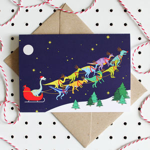 Santa's Sleigh Dinosaurs Christmas Card - winter sale