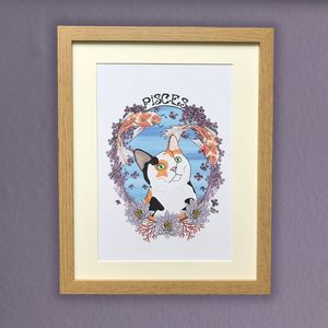 Pisces Cat Star Sign Zodiac Print - dates & special occasions