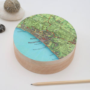 Personalised Map Location Wooden Cufflink And Watch Box
