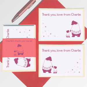 Personalised Bears Thank You Note Card Set
