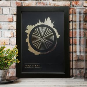 Metallic Personalised Radial Sound Wave Lyrics Print - personalised