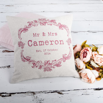 Vintage Style Mr And Mrs Colours Cushion Cover