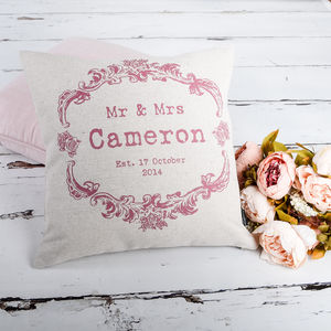 Vintage Style Mr And Mrs Colours Cushion Cover - summer sale