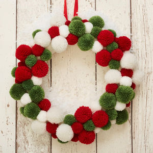 Christmas Pom Pom Wreath - wreaths