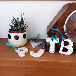 Spotty Letter Ceramic Hanging Decoration - decorative letters