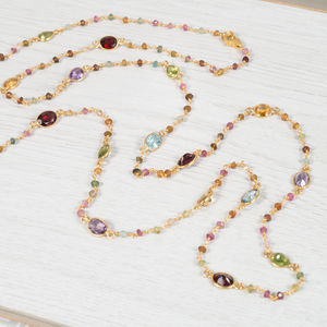 Multi Gemstone, Tourmaline And Gold Necklace