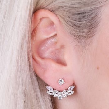 Crystal Leaf Ear Jacket Earrings