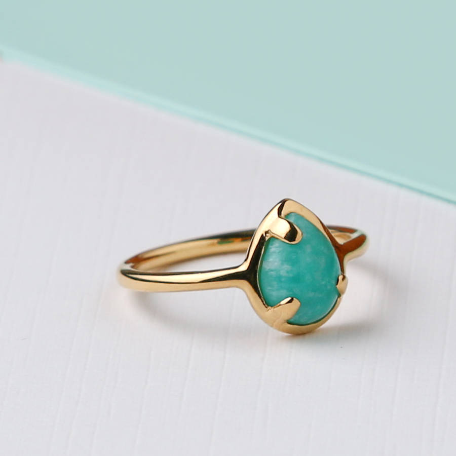 Semi Precious Amazonite Stone Ring