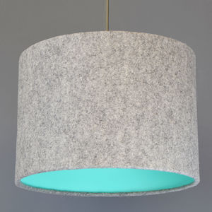 Grey Wool Felt Lampshade With Choice Of Coloured Lining - living room