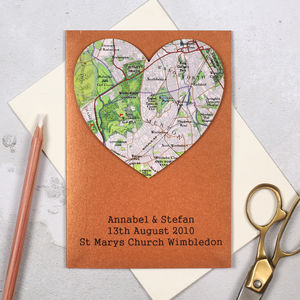 Personalised Copper Map Heart 7th Anniversary Card - cards & wrap