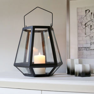 Hexagonal Black Frame Lantern