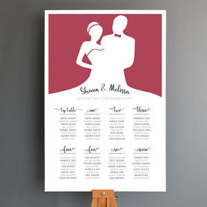 Personalised Bride And Groom Wedding Seating Plan - room decorations