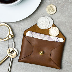 Personalised Leather Coin Pouch - for him