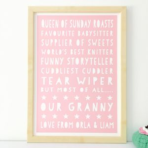 Personalised Things About Granny Print / 17 Colours