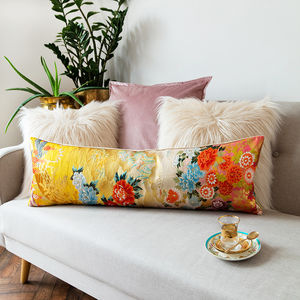 Long Bolster Cushion Floral Embroidery Peony Flower