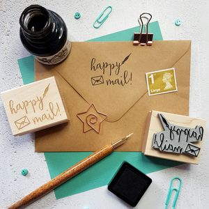 Happy Mail Rubber Stamp - diy & craft