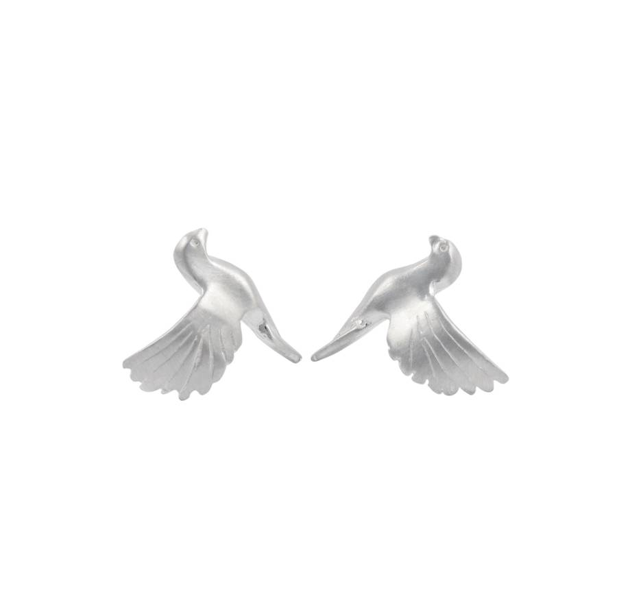 Sterling Silver Bird Stud Earrings