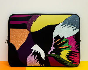 Laptop Sleeve With Abstract Feather Print, More Colours - tech accessories for him