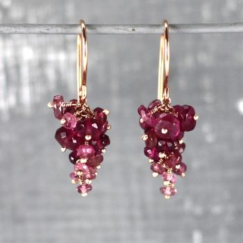 Pink Tourmaline And Rose Gold Vermeil Grape Earrings