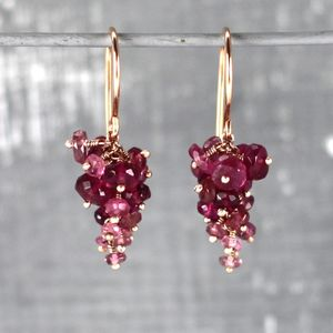 Pink Tourmaline And Rose Gold Vermeil Grape Earrings - earrings