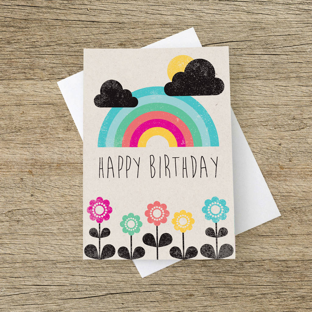 'Happy Birthday' Rainbow Greetings Card