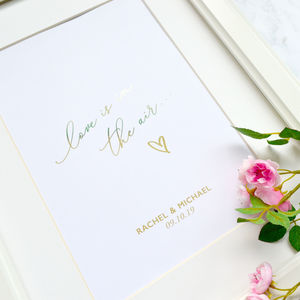 Wedding Or Anniversary Personalised Foil Print Gift