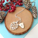 Pine Cone And Initial Acorn Necklace