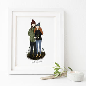 Personalised Portrait Illustration For Couples - canvas prints & art