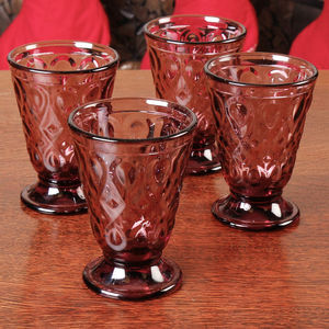 Set Of Four Amethyst Peardrop Tumbler