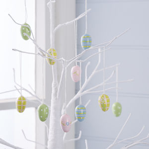 Set Of 12 Mini Wooden Egg Decorations